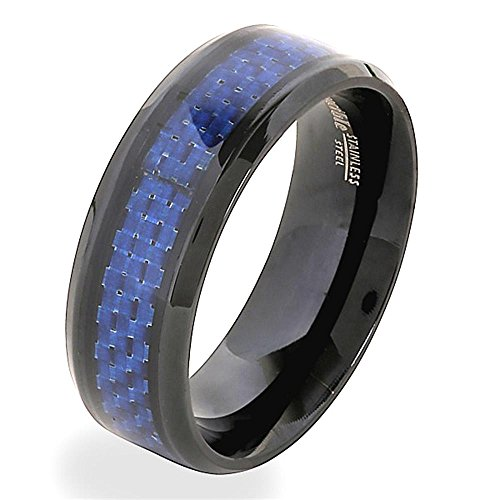 Crogiolo Blackplated in acciaio inox Blue Carbon Fiber Band Ring Dimensione 22