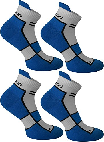 4 Paar Running Sport Sneaker Funktionssocken mit Frotteesohle verstärkt Farbe Cobald Größe 43/46