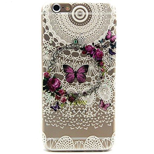 """Coque pour iPhone 6 6S 4.7"""", ISAKEN Transparente Ultra Mince Souple TPU Silicone Etui Housse de Protection Coque Étui Case Cover pour Apple iPhone 6 6S 4.7 Pouce (Fleur Pêche) Papillon Rose"""