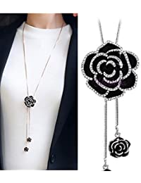 YouBella Long Chain Silver Plated Necklace Pendant for Women & Girls