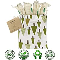 Reusable Produce Bags/Grocery Bag 5-Piece Set (4 Large mesh Bags, 1 Small Cotton Tree Bag) Organic Cotton Mesh   Transport, Store & Organize Fruits and Vegetables, Washable, Durable Eco Bag