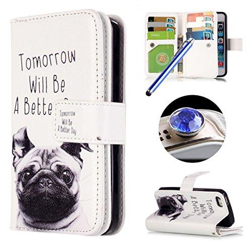 Etsue [9 Card Slot] für iPhone 6 Plus/6S Plus [Cartoon Hund] Leder Flip Case Ledertasche, Bunte Retro Painted Wallet Cover Leder Hülle mit Standfunktion und Karte Halter im Bookstyle Leder Case Brieft Hund