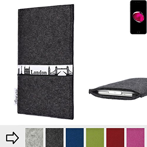 flat.design Filzhülle SKYLINE mit Webband London für Apple iPhone 7 Plus - individuelle Handytasche aus 100% Wollfilz (anthrazit) - Case im Slim fit Design für Apple iPhone 7 Plus anthrazit