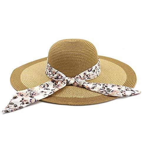 HGYIO Wilder Strandhut der Mädchen, Feiertagssonnenblende, dunkelblauer Modestrohhut,Khaki (Kinder Bulk Für Stroh-cowboy-hut)