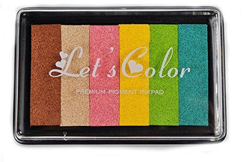 KAIMENG Encre Empreinte Coussins Encreurs Tampons encreurs Non-Toxique 6 couleur Pour Tampons D'encre à Doigts Créatifs Artisanat 2pcs