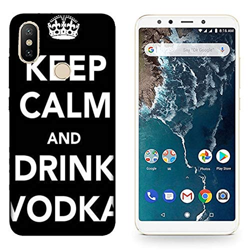 Hülle Mi A2 Case Xiaomi Mi A2 Lustige Sätze Haltet Kalm und trinkt Wodka/Cover Druck auch an den Seiten/Anti-Rutsch Anti-Rutsch Anti-Scratch Schock-resistenten Schutz Schutzulle Starre