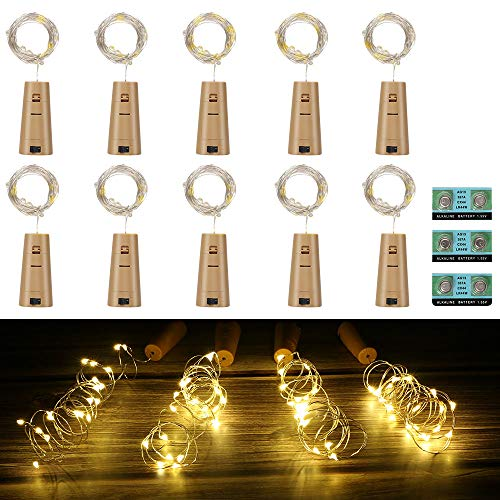 Vicloon Luz de Botella,2m 20LEDs Lámparas de Botellas con Pilas Flexible de Alambre de Cobre,LED Corcho Micro Luces para Carnaval,Decoración de Boda,DIY Fiesta,Celebración - 10PCS,Blanco Cálido