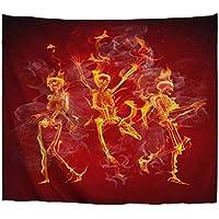 A.Monamour Tapices Fondo Rojo Bailando Esqueletos En El Fuego Halloween Vacaciones Temática Impreso Tela