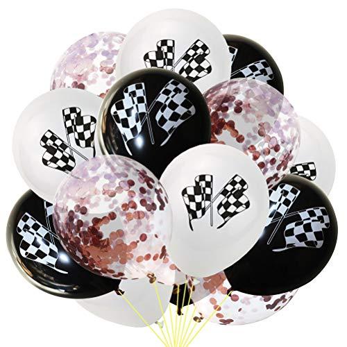 (Toyvian 15 Stück Party Ballons Schwarz und Weiß Racing Flag Pailletten Konfetti Ballons Aufblasbare Ballons (5 Stück Weiß + 5 Stück Schwarz + 5 Stück Rose Gold Konfetti Ballons))