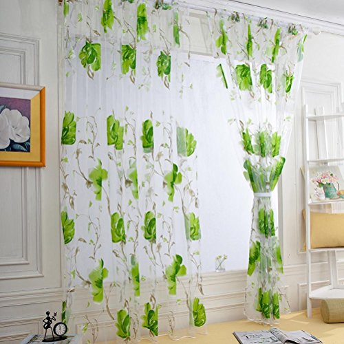 SUCES Sheer Vorhang mit Stangen Aufhängung transparent Gardine1 Stücke Gaze paarig schals Fensterschal Vorhänge 200cm x 100cm (L x W),Gardinen Vorhang für Wohnzimmer Schlafzimmer (Green) (Green Wohnzimmer Für Vorhänge)