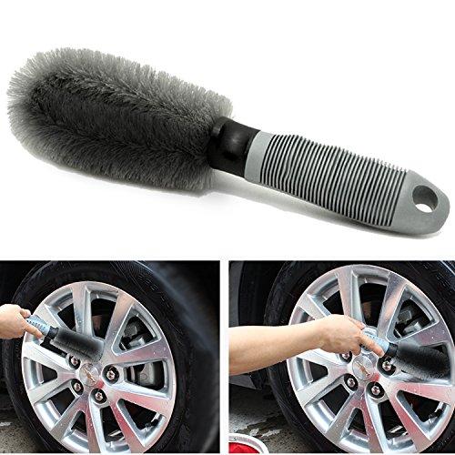 Auto Felgenbürste Waschbürste, Aodoor Auto Felgen Reifen Speichen Hand Wasch Bürste für Effektiven Reinigung Hochwertiger Felgen (Grau)