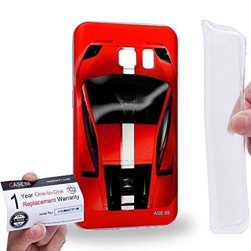 Case88 [Samsung Galaxy S7] Gel TPU Hülle / Schutzhülle & Garantiekarte - Art Design Red Sport Car Art1302