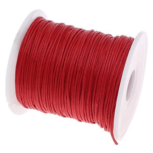 Perlin - 75 m Gewachste Baumwollekordel Rot 1mm Gewachst Schmuck Schnüre Wachs Fäden ideal zur Schmuckherstellung C167 (Wachs, Faden Schwarz)