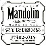 D\'Addario Corde seule en acier pur pour mandoline D\'Addario J7402, seconde corde, .015