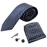 [Amazing Tour] Men's Fashion Floral Polyester Regular Width Necktie with Cufflinks Pocket Square Handkerchief Tie Clip Stickpin Box Set for Wedding - Dark blue with white dots