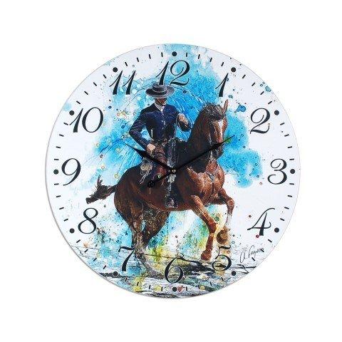 """Reloj de Pared Decorativo """"Rejoneo Toros"""" Accesorios Hogar. 58 x 58 x 4 cm."""