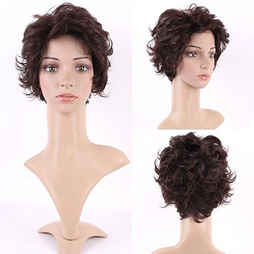 Perruque Femme Européenne Cheveux Synthétique Ondulé Court 4 inch - Marron foncé