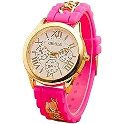 Menu Life Chain Trim Soft Band Ladies Watch Classic Gel Crystal Jelly Silicone Geneva watch