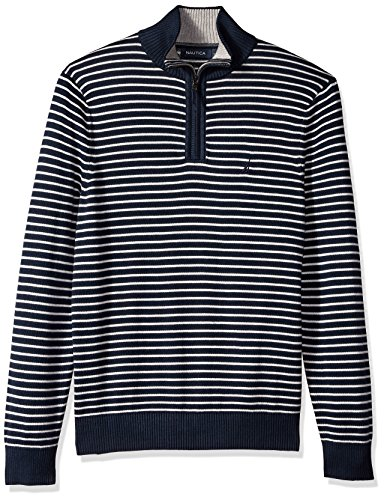 Nautica herren Long Sleeve 1/4 Zip Solid Sweater With Suede Pull Detail  Pullover  -  blau -  (Nautica 1/4 Zip Pullover)