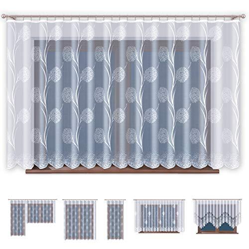 Jacquard Gardinen mit Kräuselband Transparent in Weiß Fenster Vorhang - Ohne Bohren - Pflegeleicht...