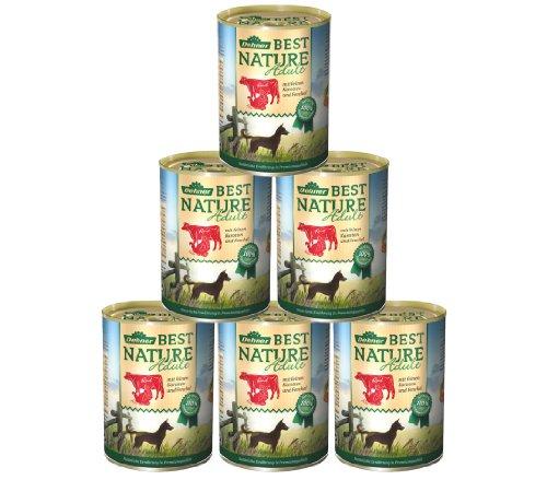Dehner Best Nature Hundefutter Adult, Rind und Pute mit Karotten, 6 x 400 g (2.4 kg)