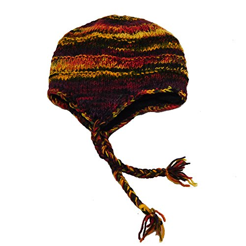 Mütze Wolle Inka Norweger Ohrenklappen Wolle Strickmütze Fleecefutter Gr. 48 - 50