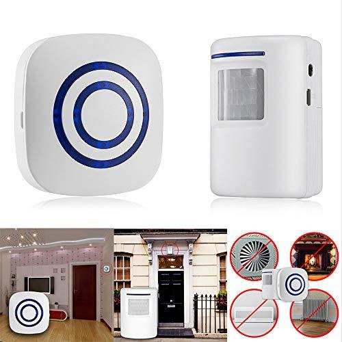 SO-buts Funk Türklingel,Intelligente Türklingel,Bewegungsmelder Wireless Türglocken,Außenbereich Wasserdicht,38 Arten Musik,Infrarot-Sensor automatischer,Alarm zur Sicherheit zu Hause (Weiß)