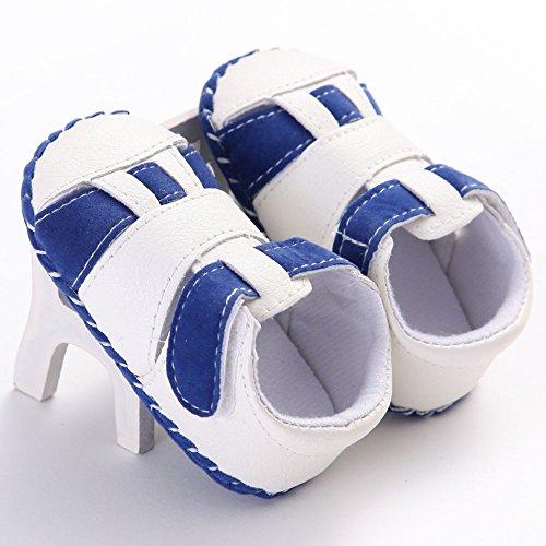 WAYLONGPLUS , Chaussures premiers pas pour bébé (fille) Blanc blanc 13 (12-18 Months) Bleu-blanc