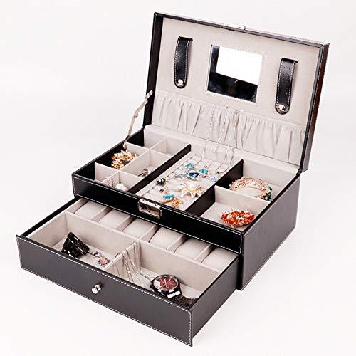 Preisvergleich Produktbild ZXF Schwarz Mehrschichtige Pu Schmuckschatulle Uhren Glas Ohrringe Ring Halskette Armband Lagerung Kosmetik Fall Mädchen Frau Geschenk Spiegelschloss Nett