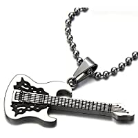 COOLSTEELANDBEYOND Rock Punk Guitar Pendant Necklace for Men Boy Girls Stainless Steel with 30 in Ball Chain