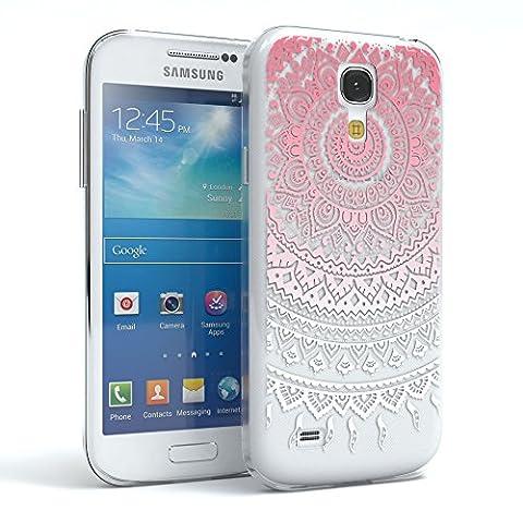 EAZY CASE Handy-Hülle für Samsung Galaxy S4 Mini Pink / Weiß Transparent   Ultra Slim TPU Silikon Smartphone Case Indische Sonne Design klar