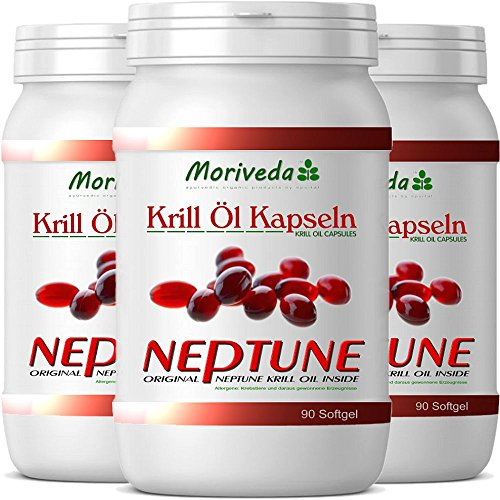 MoriVeda 270 Krillöl Kapseln, 100% reines NEPTUNE Premium Krill Öl - Omega 3,6,9 und Astaxanthin - Markenqualität (3x90)