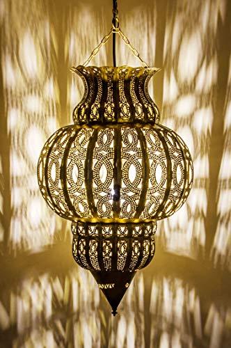 Orientalische Lampe Pendelleuchte Gold Isfahan 50cm E27 Lampenfassung | Marokkanische Design Hängeleuchte Leuchte aus Marokko | Orient Lampen für Wohnzimmer, Küche oder Hängend über den Esstisch