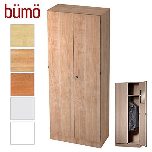 BÜMÖ Office Garderobenschrank abschließbar aus Holz | Kleiderschrank | Flurschrank | Büroschrank...
