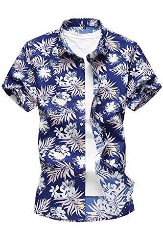 Los-Hombres-Tropcial-Causal-Flor-Imprimir-Botn-Abajo-Camisa-Hawaiana-De-Playa-Blue-M