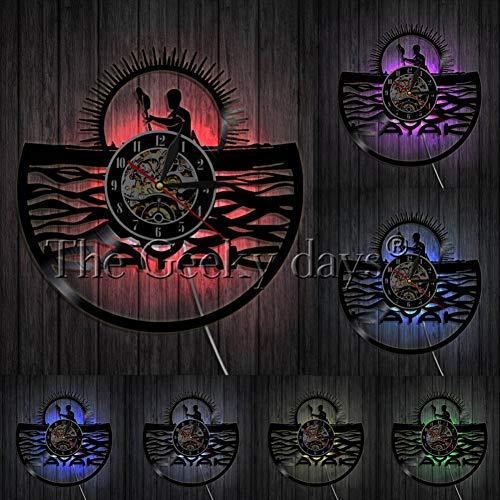 ALKLKJ Reloj de Pared Remando Reloj de Pared con Registro de Vinilo Vintage Rafting Decoración de Pared Diseño Moderno Regalos Deportivos para Kayakistas