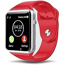 Reloj Inteligente Kivors con Bluetooth y Ranura para Tarjeta SIM para Usar Como Teléfono Móvil. Reloj Deportivo con Rastreador de Actividad, Podómetro Inteligente, Compatible Con Android (Rojo)