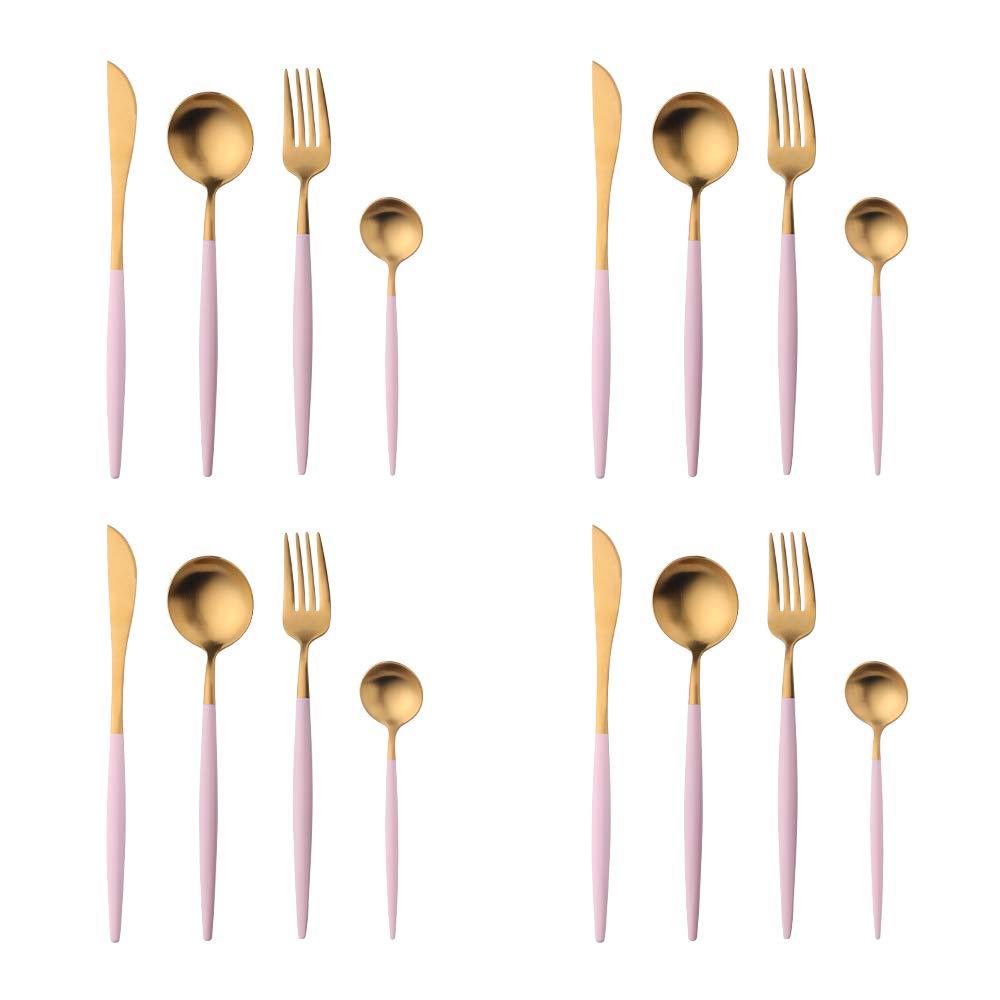 Bisda 4 pezzi oro posate in acciaio inossidabile posate da tavola Servizio per 1