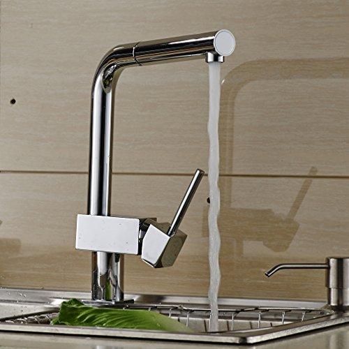Auralum® Verchromt Armatur Küchenarmatur Kupfer Wasserhahn für Warm-Kaltwasser Küche Mischbatterie -