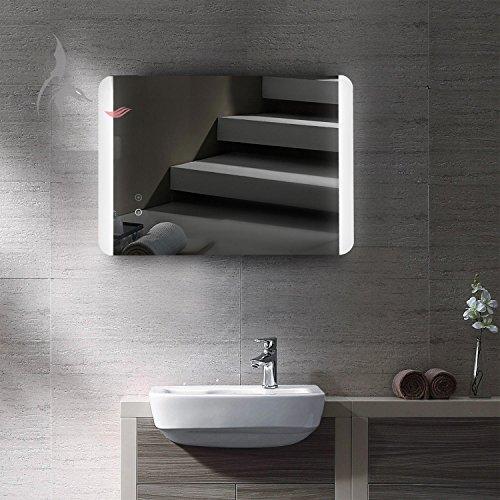 Miroir de salle de bain lumineux à LED avec chauffage électrique intégré anti-buée, 50x 70cm, montage horizontal et vertical possible, lumière en haut et en bas, classe énergétique A+, instructions de montage (français non garanti)