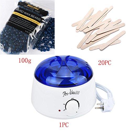 Haarentfernung Wachsbohnen ,Bovake Haarentfernung Bean Abwischen Sticks Hot Wax-Wärmer-Heizung Pot Enthaarungsmittel Set (Colour A)