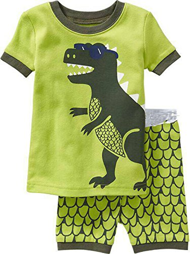 """babyspace dinosaurio """"Boys '2piezas 100% algodón corto pijama talla 2T-7T Verde verde"""