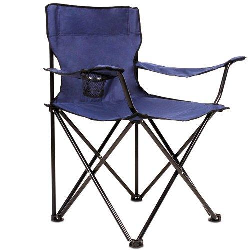 Anglersessel Campingstuhl in dunkelblau inkl. Getränkehalter und Tragetasche