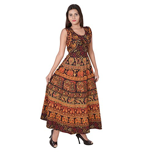 Jaipuri Fashionista Women's Cotton Maxi with Attached Jacket (Brown_Free Size)