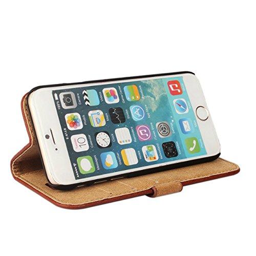 iPhone 6 Plus hülle, iPhone 6s Plus Holster hülle Bookstyle Handyhülle Premium PU Leder Tasche Flip Case Brieftasche Etui Handy Schutz Hülle für Apple iPhone 6 Plus / 6s Plus - Grün Braun