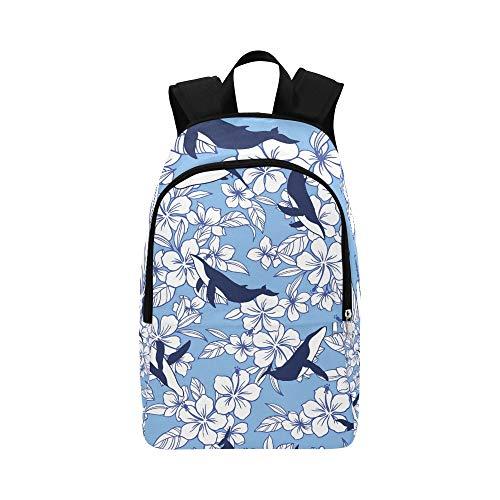 Hibiscus Whale Drew Hibiscus Whale Casual Daypack Reisetasche College School Rucksack für Männer und Frauen Hibiscus Wal