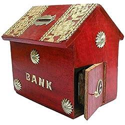 Gracias giving regalo para tus seres queridos, madera dinero banco, casa estilo con color rojo Hucha, caja de moneda almacenamiento seguro para niños y niñas