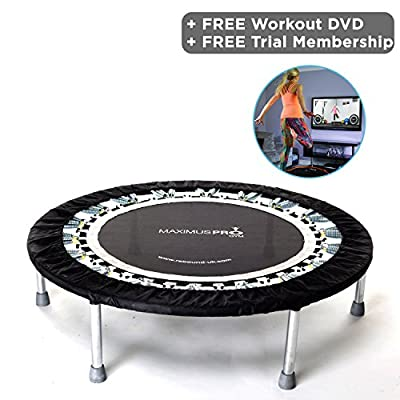 Rebound UK Voted Best High quality Professional Gym & Studio Rebounder - Indoor Mini Trampoline for Adults 150kgs User Weight - Folding legs + 2 x Exercise Rebounding DVD's + Free Home Workout Video Membership. Optional Handle Bar by Rebound UK