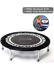 Rebound UK High quality Professional Gym & Studio Rebounder - Mini Trampoline - 150kgs User Weight - Folding legs + Rebounding DVD included