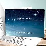 Einladungskarten Beerdigung, Nachthimmel 140 Karten, Horizontale Klappkarte 148x105 inkl. weiße Umschläge, Weiß